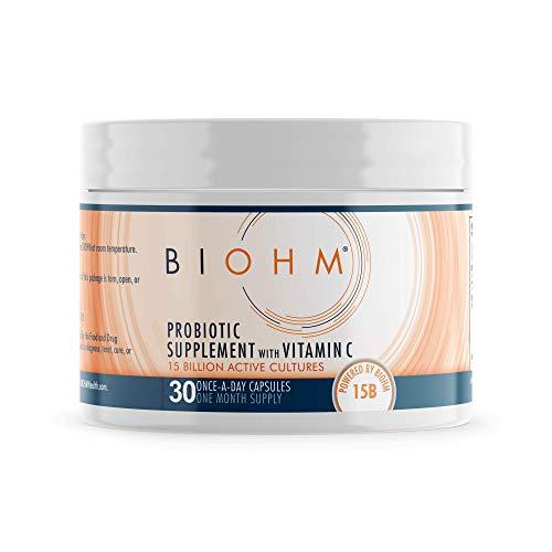 BIOHM Vitamin C Immune Support Probiotic Supplement; Immune System Booster Probiotics with VIT C; Immunity Booster Vitamin C Supplement for Immunity Support; Vegetarian Friendly, 30 Capsules