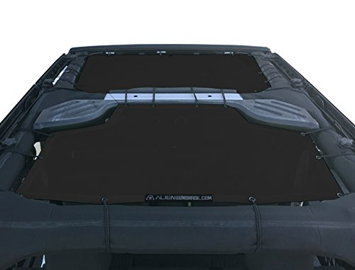 ALIEN SUNSHADE Jeep Wrangler Sunshade 2-Piece Front & Rear Mesh Jeep Tops - Jeep JKU Sunshade 4-Door JKU Top (2007-2018) - Mesh 2 Stretch Piece