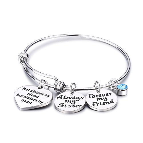 Udobuy Stainless Steel Best Friends Bracelets Not Sisters by Blood But Sisters by Heart Bangle Bracelet Friend Jewelry for Friends