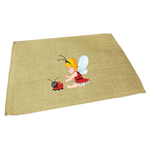 Little Girl With Wings And Ladybird Jute Burlap Placemat Table Mat Natural