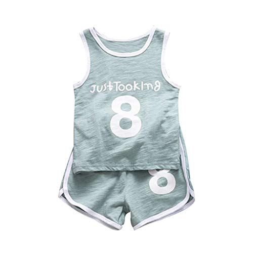 Set Creeper Over Tank - Fashion New Toddler Baby Kids Summer Cotton Sport Clothes Sets Solid Color Letter Printing Tank Tops+Shorts Outfit Green 3-4 T