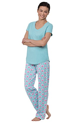 (PajamaGram Pajamas Women Cotton Jersey - Women's Pajama Sets, Aqua, 2X, 20-22)