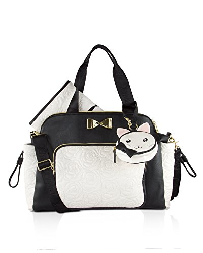 Betsey Johnson 3pc Weekender Multi-Function Diaper Satchel Tote Bag with Changing Mat - Cream/Black