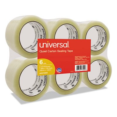 Universal Quiet Box Sealing Tape, 48mm x 100M, 3 Core, Clear, 6/Pack (73000) by Universal