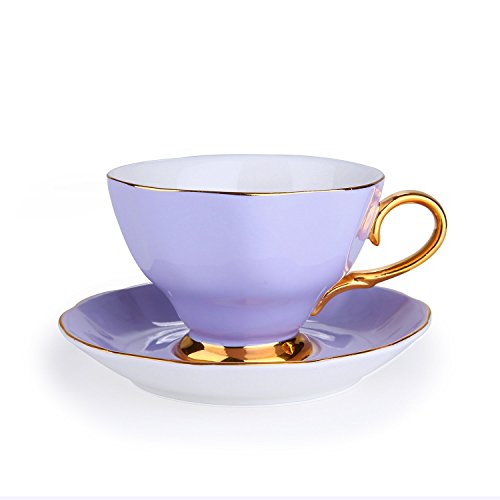 Porcelain Classic Tea/Coffee Cups and Saucers Set with Gold Plated Rims&Handles,Ceramic Espresso Latte Coffee Cup Teacup and Saucer Sets for Office Home Gift,Assorted Color,7 Ounces (PURPLE) by INCH