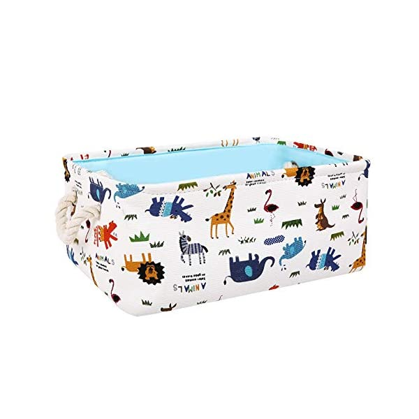 "Zonyon 14"" Rectangular Collapsible Storage Bin Cartoon Fabric Nursery Basket,Cute Décor Organizer Cube for Baby,Kids,Home,Toys,Entryway,Closet,Toddler,Zoo Animal,Blue"