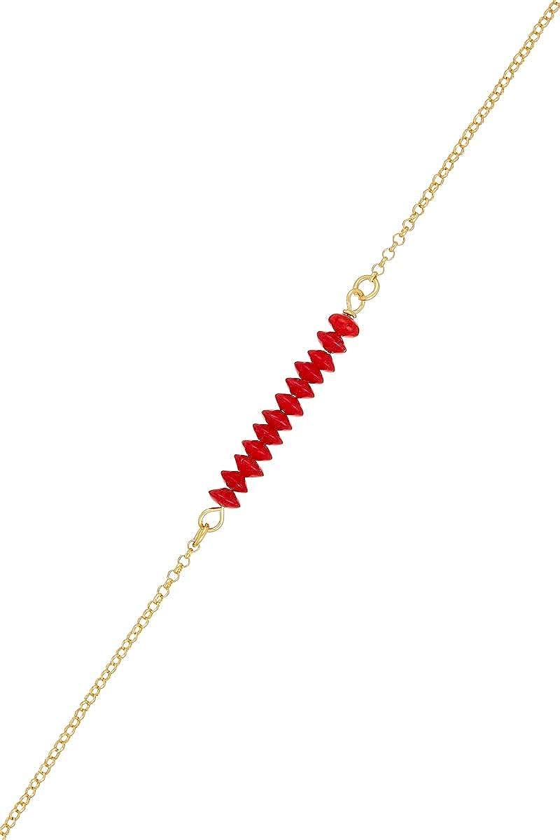Córdoba Jewels |Pulsera en Plata de Ley 925 bañada en Oro con Piedra semipreciosa con diseño Swarovski Rubi Gold