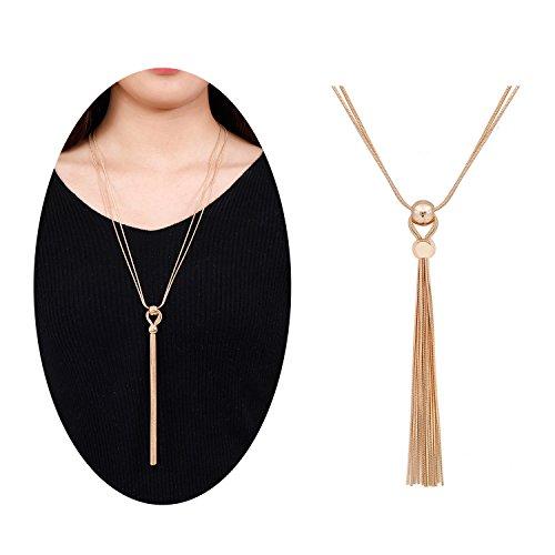 Multi Strand Snake - NVENF Long Tassel Pendant Necklace Multi-Strand Snake Chain Tassel Y Shaped Necklace (Gold-tone)