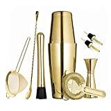 Gold Boston Cocktail Shaker Set for Professional Bartender and Home Bar including 18oz & 28oz Tins Shaker, Strainer, Measuring Jigger, Cocktail Muddle, Mixing Spoon and cocktail pourer (9 piece)