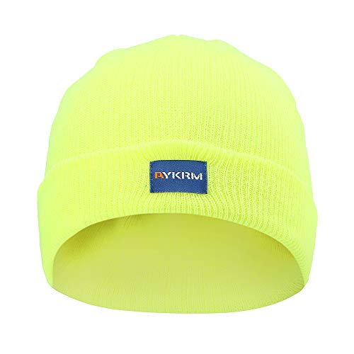 A-SAFETY Hi Viz Skull Cap, Daily Knit Ribbed Beanie and Running Soft Cap Ultimate Thermal Retention Headwear - Lining Windstopper