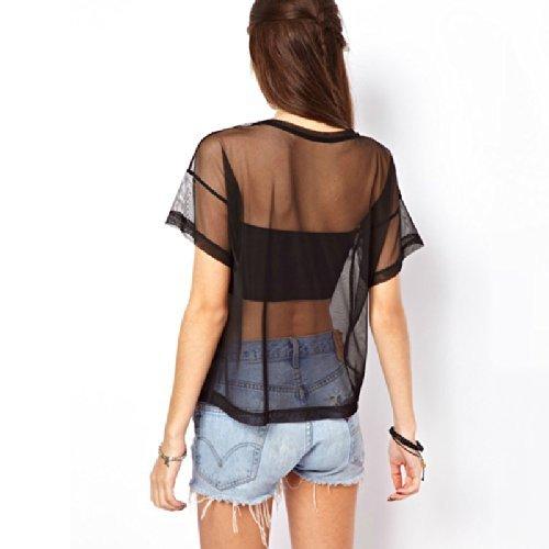... TOOGOO(R) Crop Oberteil Gitter durchsichtig Buchstabe Drucke Kurz  aermel lose T-Shirt ...