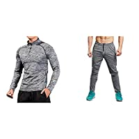 Zesteez Grey Tracksuit Men Ultra Stretchable Gym-Workout Track Pants and Full SLVS Tshirt in Fabric ||
