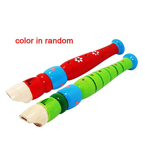2 pcs Colorful Musical Instrument Baby Kids Wooden Toy Cute Small Piccolo Flute Early Education Rhythm Toy,Wood Recorder Flute for Kids Christmas Birthday Gift Set