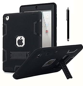 AICase Kickstand Funda iPad 2,iPad 3,iPad 4 resistente a los golpes de alto impacto, caucho resistente, funda protectora de armadura híbrida robusta ...