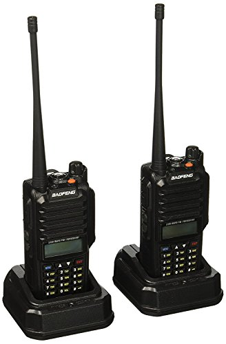 BaoFeng GT-3WP Dual Band Two-Way Radio, Waterproof Dustproof IP67 Walkie Talkie Transceiver, VHF/UHF 136-174/400-520MHz, with Programming Cable, Black, 2 Pack