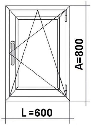 Ventana Pvc 600x800 Oscilobatiente Mate Derecha