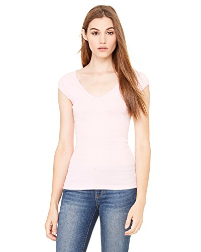 Ladies' Sheer Rib Cap Sleeve Deep V-Neck Tee Shirt, Color: Pink, Size: Medium