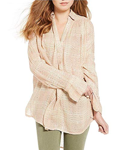 Free People Women's Fearless Love Sequin-Embellished Top Beige Combo Small