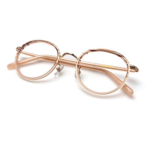 Optical Frames Eyeglasses - Komehachi - Womens Mens Retro Oval Optical Prescription-Ready Eyeglasses Frame with Clear Lenses (Pink)