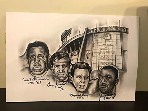 Art Donovan Raymond Berry Lenny Moore Marchetti Hand Signed 12x18 Photo