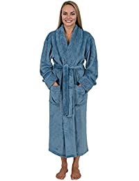 43afc5fc3ca88 Women s Spa Style Full Length Plush Robe with Velvet Collar   Cuffs Plus  Sizes Avail.