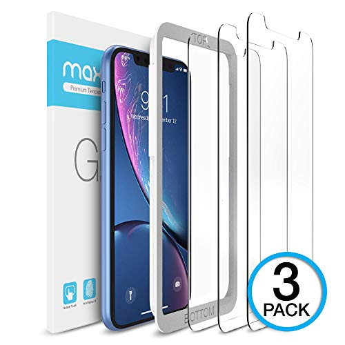 Maxboost Screen Protector Compatible Apple iPhone XR (6.1 inch) (Clear, 3 Packs) 0.25mm iPhone XR Tempered Glass Screen Protector with Advanced HD Clarity Work with Most Case 99% Touch Accurate