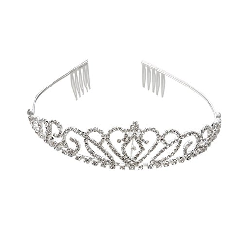 (SALOCY Princess Tiara Crown Hair Loop with Comb For First Communion Wedding Sliver )