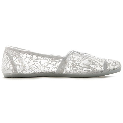Ollio Mujeres Shoe Spangle Lace Slip On Ballet Blanco Plano Transpirable