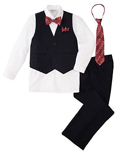 (Spring Notion Baby Boys' 5 Piece Pinstriped Vest Set White Size 2T)