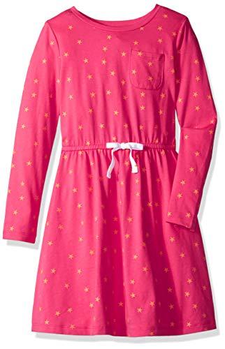 Amazon Essentials Little Girls' Long-Sleeve Elastic Waist T-Shirt Dress, raspberry sorbet/Muskmelon mixed star with white bow, - All Cotton Star T-shirt