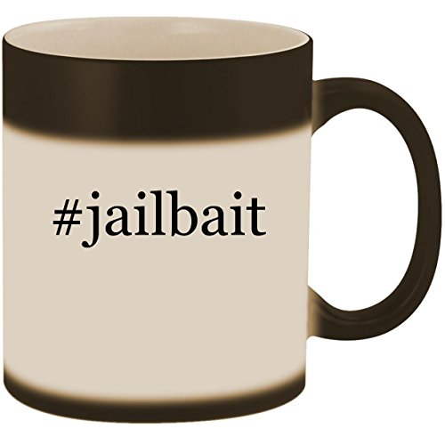 #jailbait - 11oz Ceramic Color Changing Heat Sensitive Coffee Mug Cup, Matte Black ()