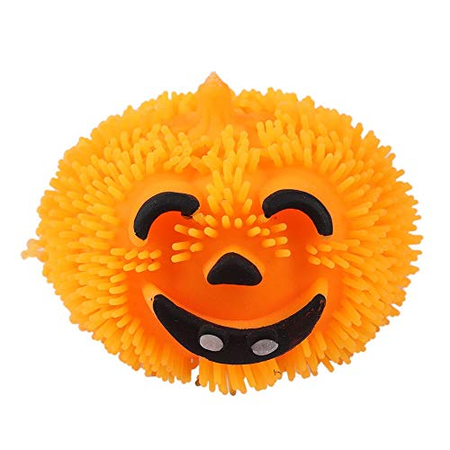 Squeeze Toys -Pumpkin Light Hair Ball Halloween Prop Party Decoration Kid Gift Lovely Soft Rubber Up Stress - Children Relief Ball Food Kids Dogs Bulk Infants Squeeze Baby Eyes Adult Poppi -