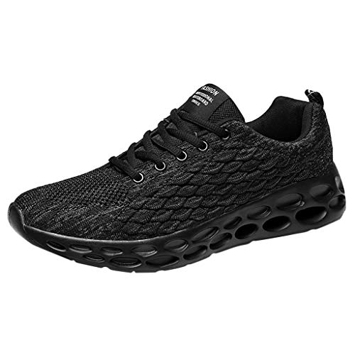 Men's Lightweight Athletic Running Shoes Breathable Sport Air Fitness Gym Jogging Sneakers Air Cushion Sneaker& LYN Star☪ Black (Best Barrel Vacuum Cleaner 2019)