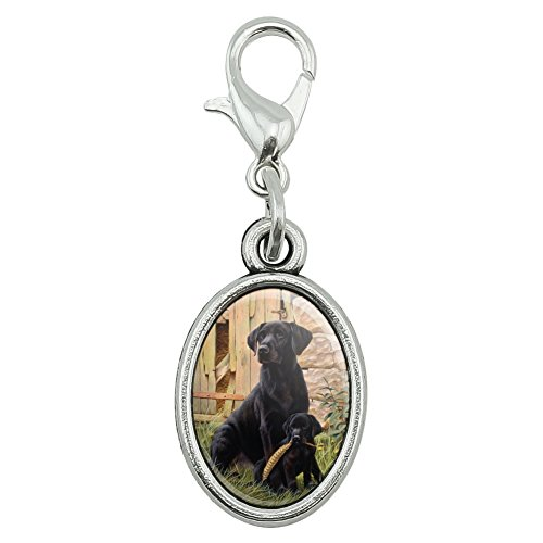 GRAPHICS & MORE Black Labrador Retriever Dog Puppy Antiqued Bracelet Pendant Zipper Pull Oval Charm with Lobster Clasp