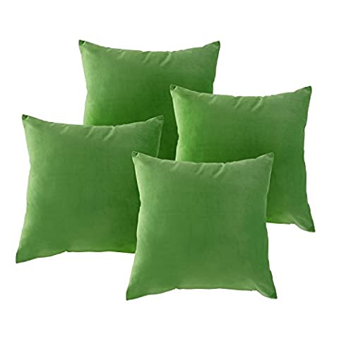 Deconovo Faux Velvet Super Soft Home Decorative Pillowcase Cushion Cover With Invisible Zipper For Chair 18 x 18 Inch Bright Green Set of (Indoor Chaise Chair Cover)