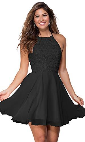 Women's Halter Spaghetti Strap Beaded Ball Gown Short Chiffon Prom Dresses Lace Bodice Black Size 2 ()