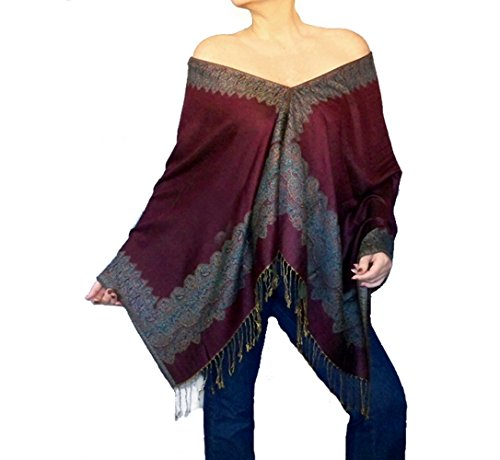 Plus Size Wine Shawl Burgundy Scarf Wrap Loose Boho Chic Clothing By ZiiCi