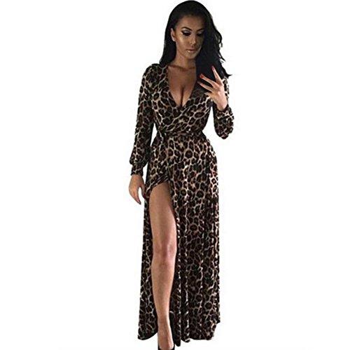 Orangeskycn Women V-Neck Long Sleeve Dress Nightclub Leopard Party Dresses (S)