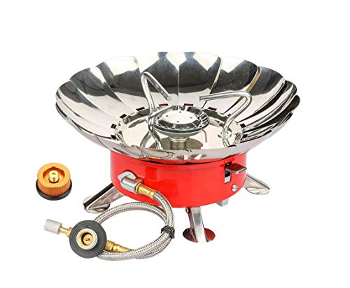 Willor Camping Gas Stove, Portable Collapsible Windproof Backpacking Gas Stove with Piezo Ignition and Tank Connector Adapter for Outdoor Camp