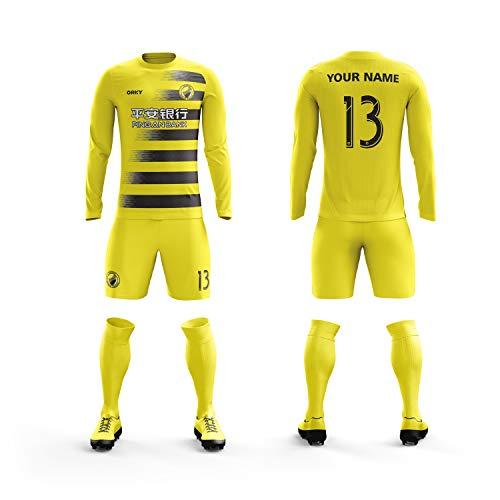 ORKY Custom Soccer Jersey Short Men Kids USA Football Team Uniform (Yellow,S) (Uniform Soccer Team)