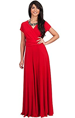 KOH KOH Womens Long Sexy Cap Short Sleeve V-neck Flowy Cocktail Gown Maxi Dress
