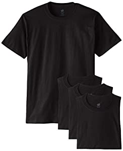 Hanes Men's ComfortSoft T-Shirt (Pack of 4), Black, Large