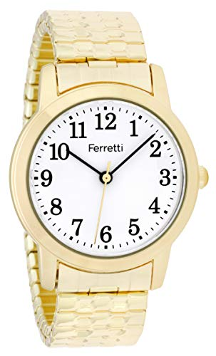 Ferretti Women's | Classic Gold-Tone Expansion Bracelet Big Number Watch | FT16001