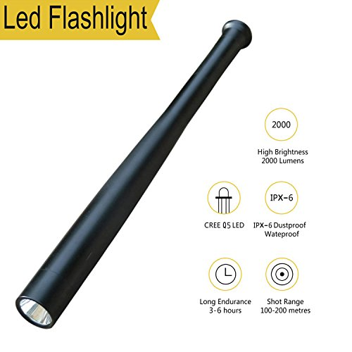 Tactical Flashlight Best Torch, Winbtek Cool Black Brightest Led Flashlight, 2000 Lumens, 3 Light Modes for Camping, Hiking, Inspection, Work, Repair and Emergency Use by Winbtek