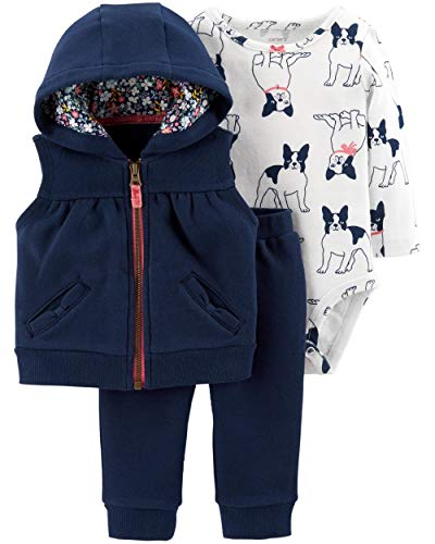 Carter's Baby Girls 3 Piece Vest Set, French Bulldog, Newborn