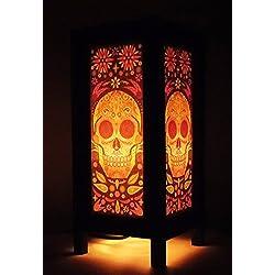 Thai Vintage Handmade Asian Oriental Fantasy Skull Bedside Table Light or Floor Wood Paper Lamp Shades Home Bedroom Garden Decor Modern Design from Thailand