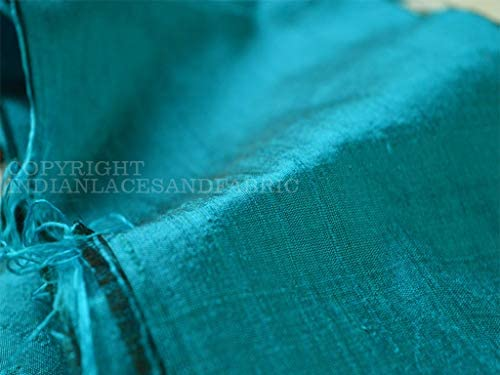 Turquoise Blue dupioni silk fabric Sewing dress material