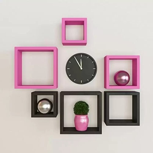Onlineshoppee Flotante MDF Wall Shelf Black  amp; Pink.