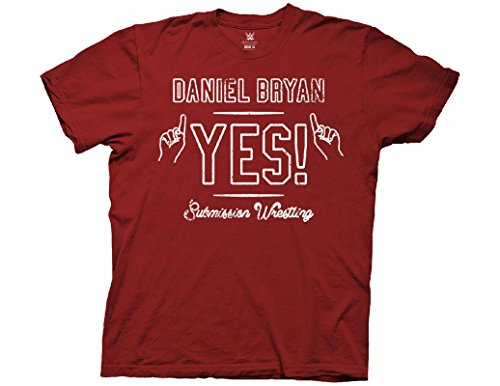 Ripple Junction WWE Adult Unisex Daniel Bryan Yes Light Weight 100% Cotton Crew T-Shirt MD Cardinal Red (Wwe Yes Tshirt)