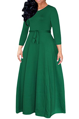 Cuello Mujer De De La Vestido Scoop Elegante Vendas Maxi Correa Formal Skater Verde Redondo qRwqItd